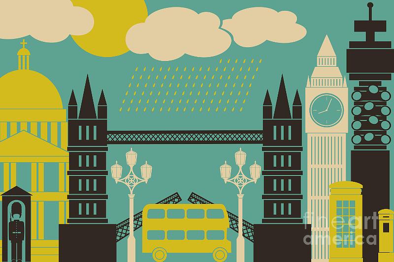 Bus Digital Art - Illustration Of London Symbols And by Iveta Angelova