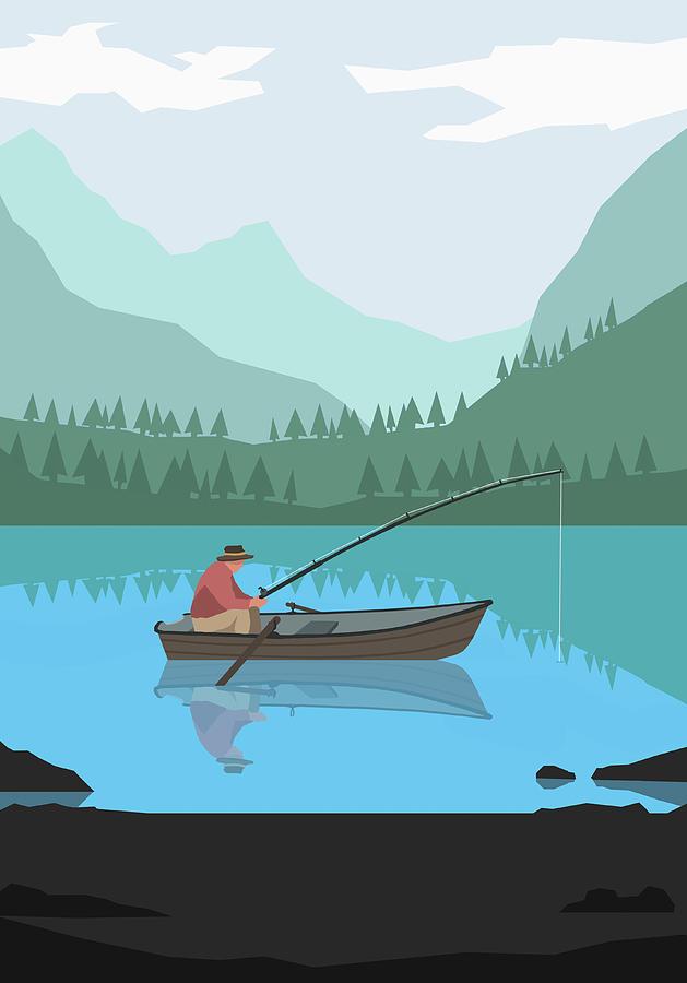 Illustration Of Man Fishing In Lake Digital Art by Malte Mueller