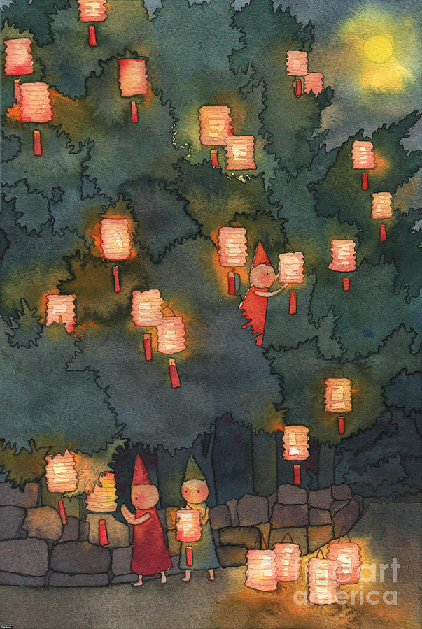 Illustration Of People Hanging Lanterns Digital Art by Sino Images