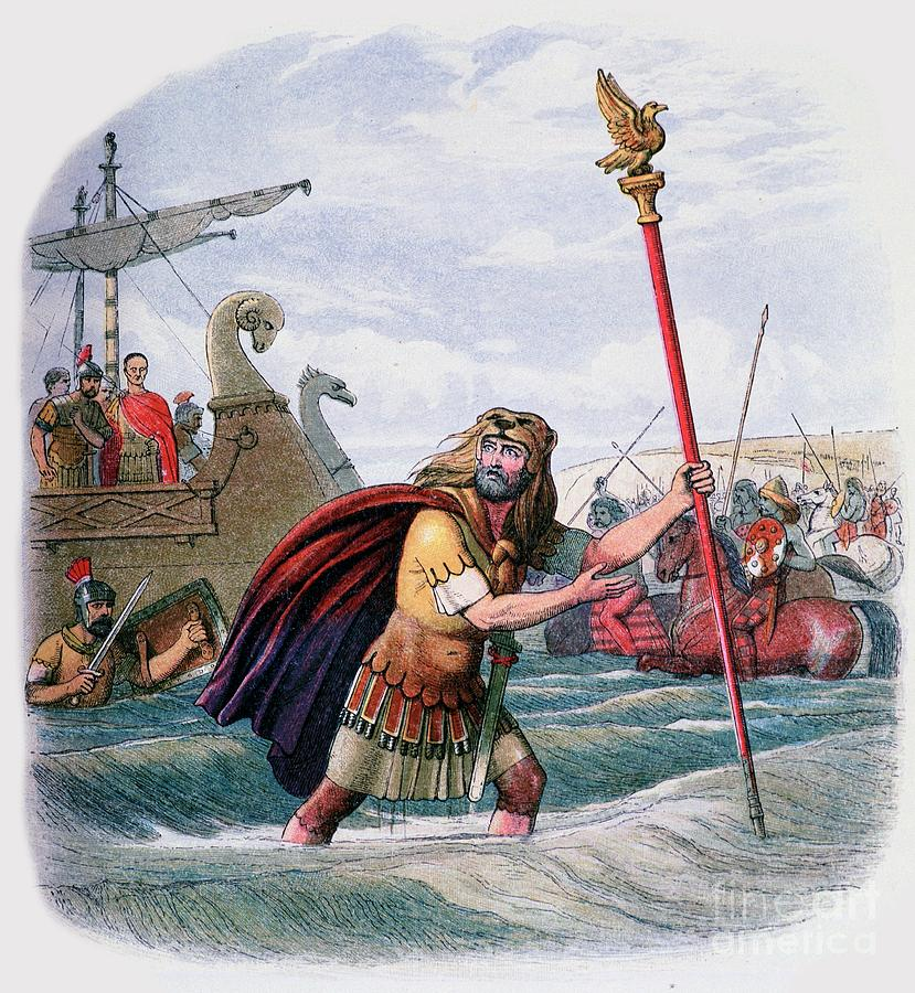 Illustration Of The Romans Landing Drawing by Print Collector