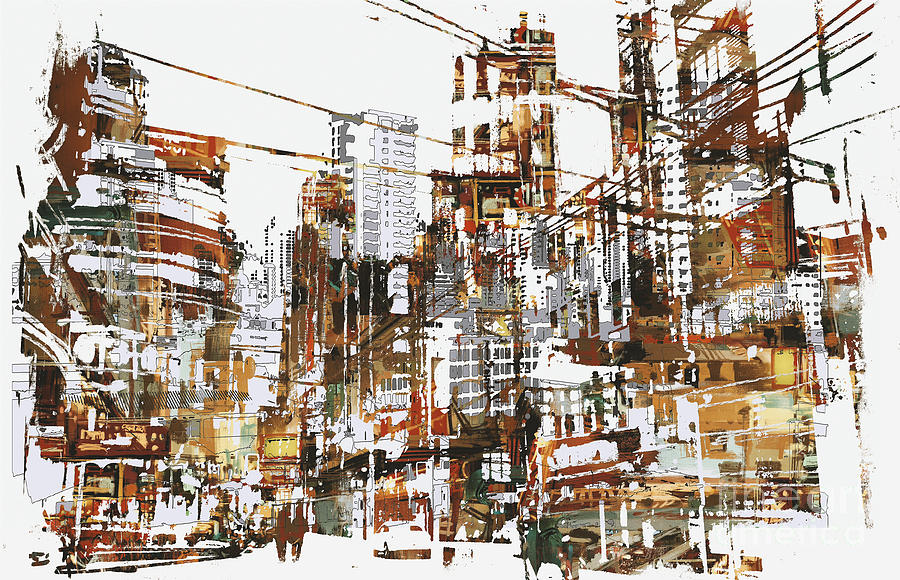City Digital Art - Illustration Painting Of Urban City by Tithi Luadthong
