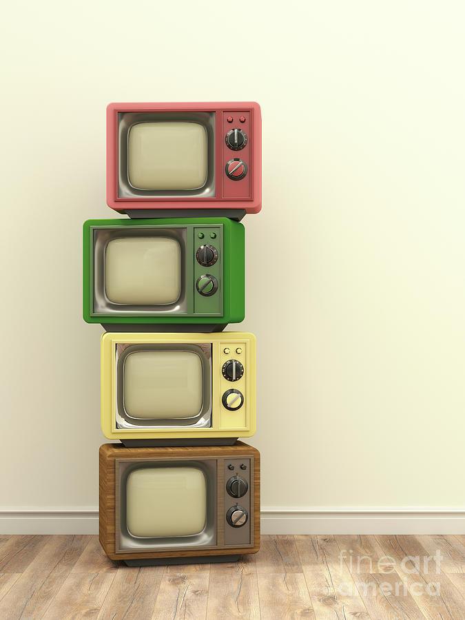 Illustration, Stack Of Old Tv Digital Art by Westend61