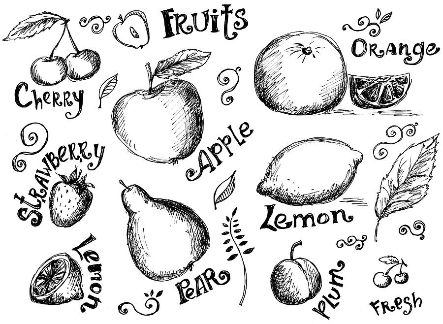 Illustrations Of Various Fruits And Digital Art by Kalistratova