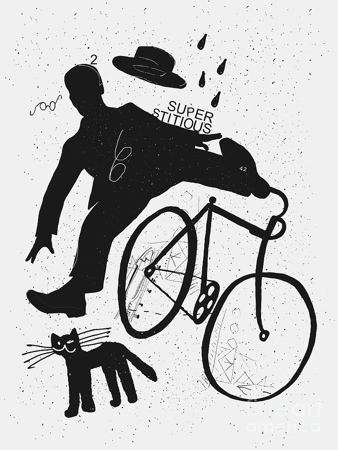 Stupid Digital Art - Image Of A Cyclist Who Was Scared Of A by Dmitriip
