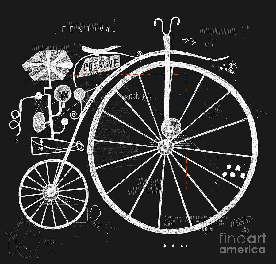 Symbol Digital Art - Image Of An Old Bicycle With A Large by Dmitriip