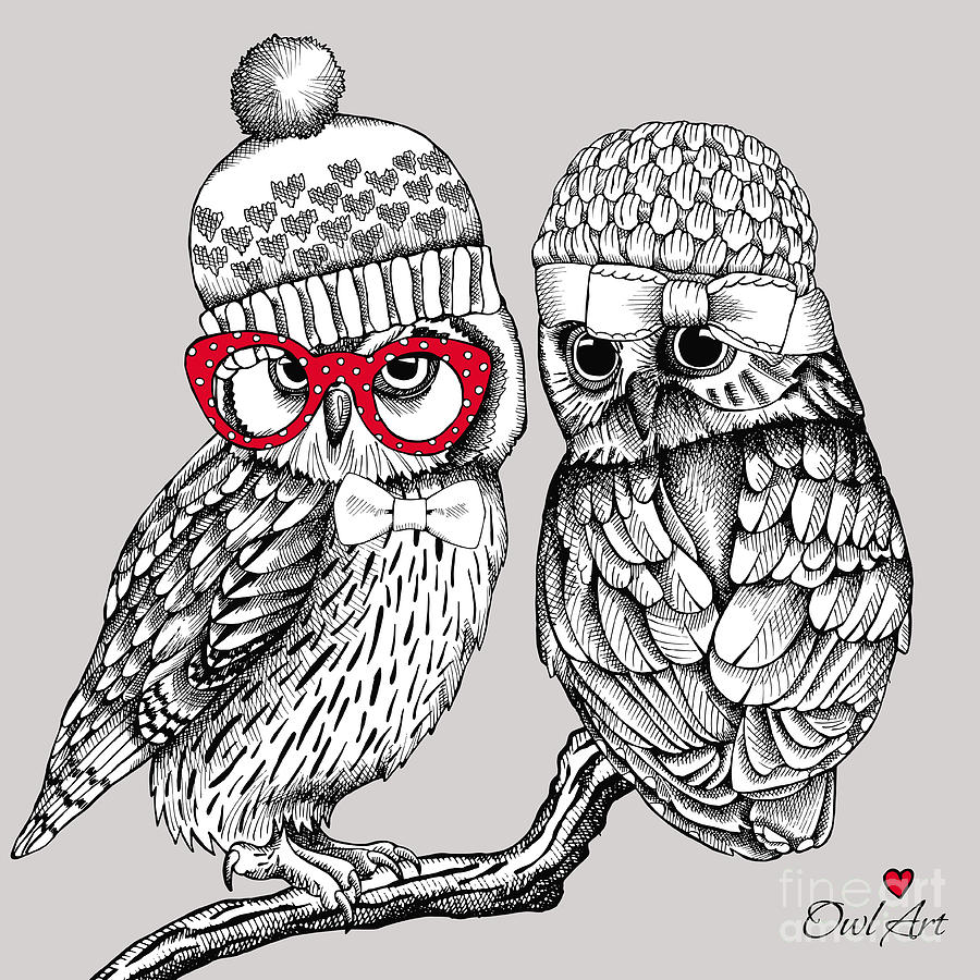 Bride Digital Art - Image Of Two Owls In Knitted Hats by Afishka