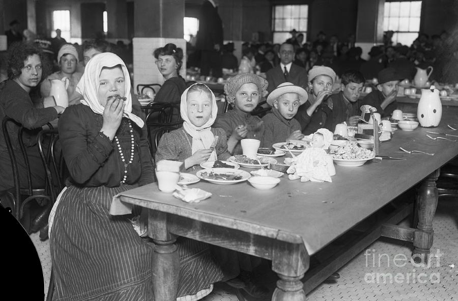 Immigrants Eating In Cafeteria Photograph by Bettmann