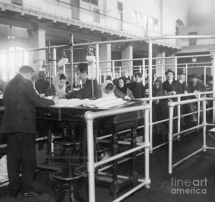 Immigrants Having Papers Checked Photograph by Bettmann