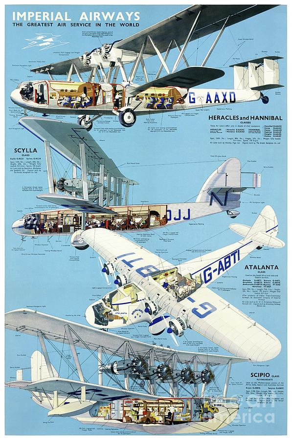Imperial Airways Vintage Advertising Poster Restored by Vintage Treasure