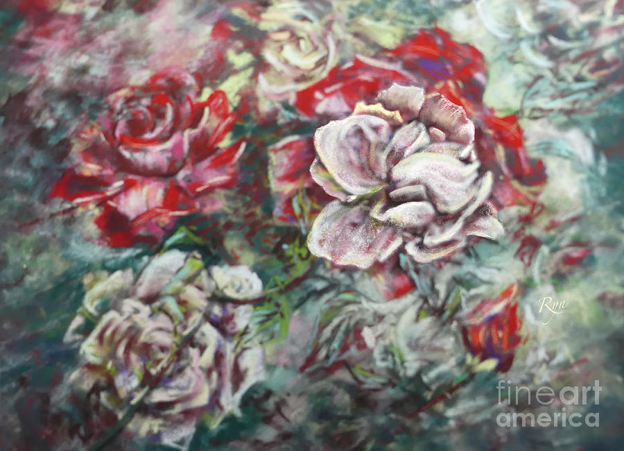 Impressionist Rose Garden in July by Ryn Shell
