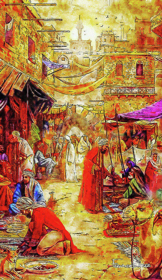 Impressionist Watercolor Drawing - Carpet Market in Old Cairo by Hasan Ahmed