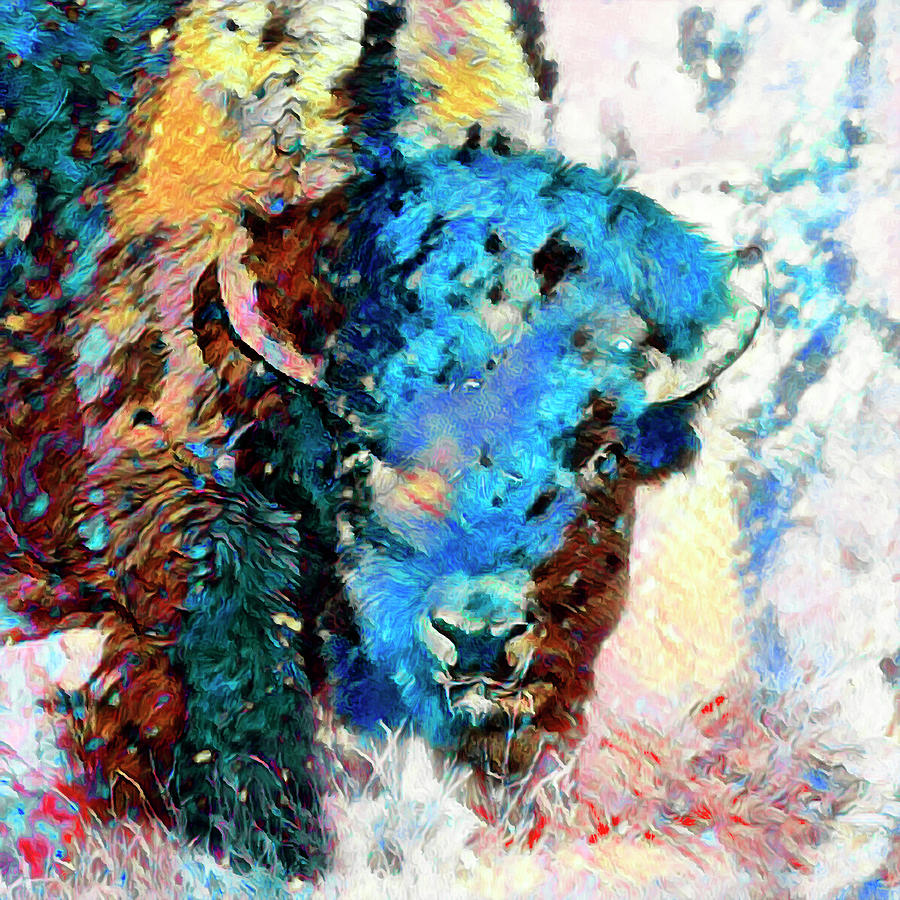 Impressionistic Bison Portrait by Lowell Monke