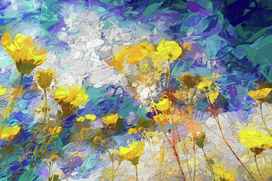 Impressions Of Desert Sunflowers Mixed Media