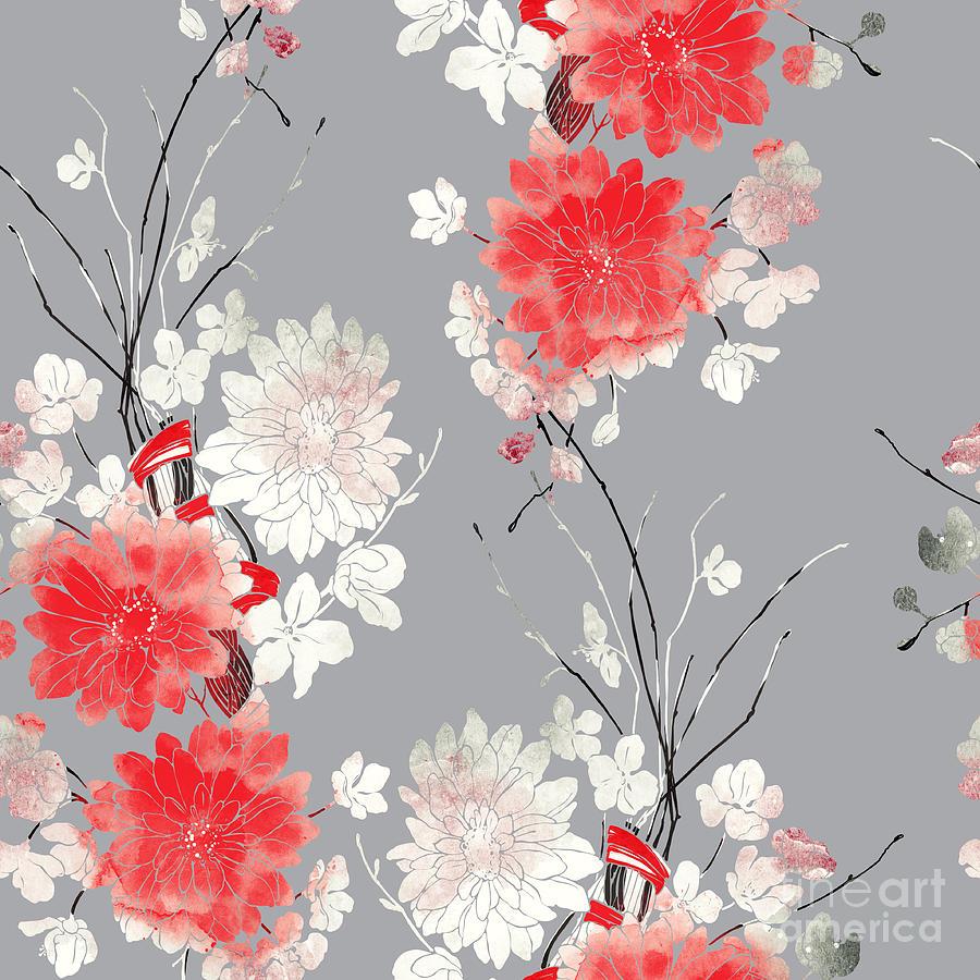 Gift Digital Art - Imprints Sakura And Chrysanthemum. Hand by Liia Chevnenko