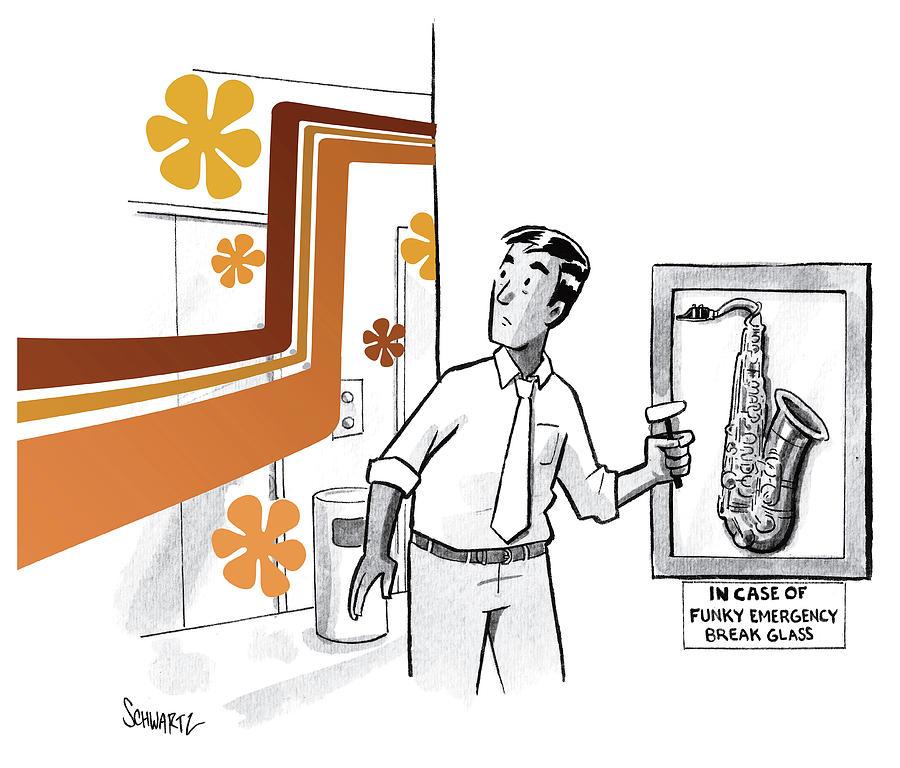 In Case of Funky Emergency Break Glass Drawing by Benjamin Schwartz