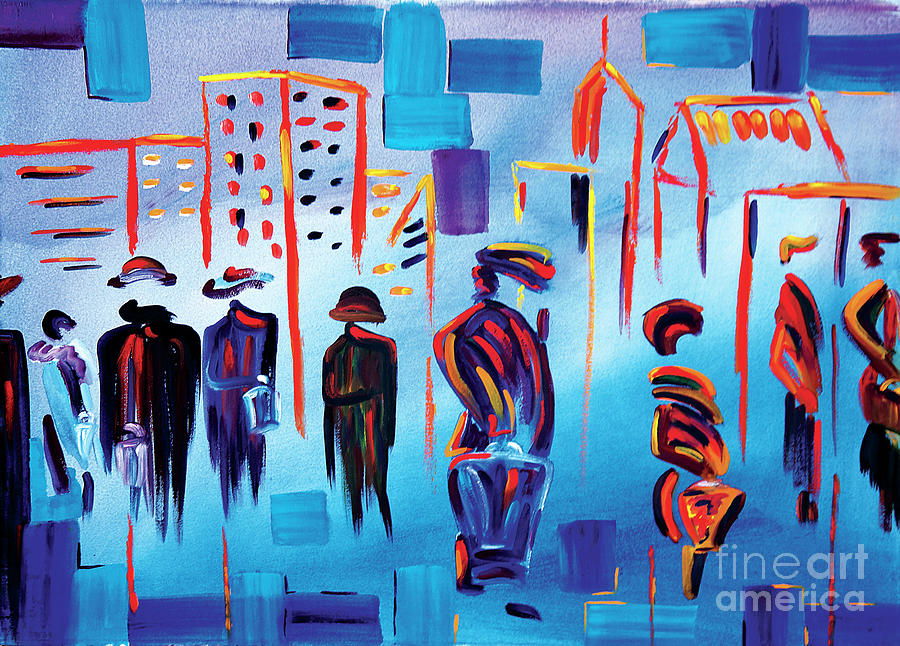 Abstract Painting - In Line Cle Revisited by JoAnn DePolo