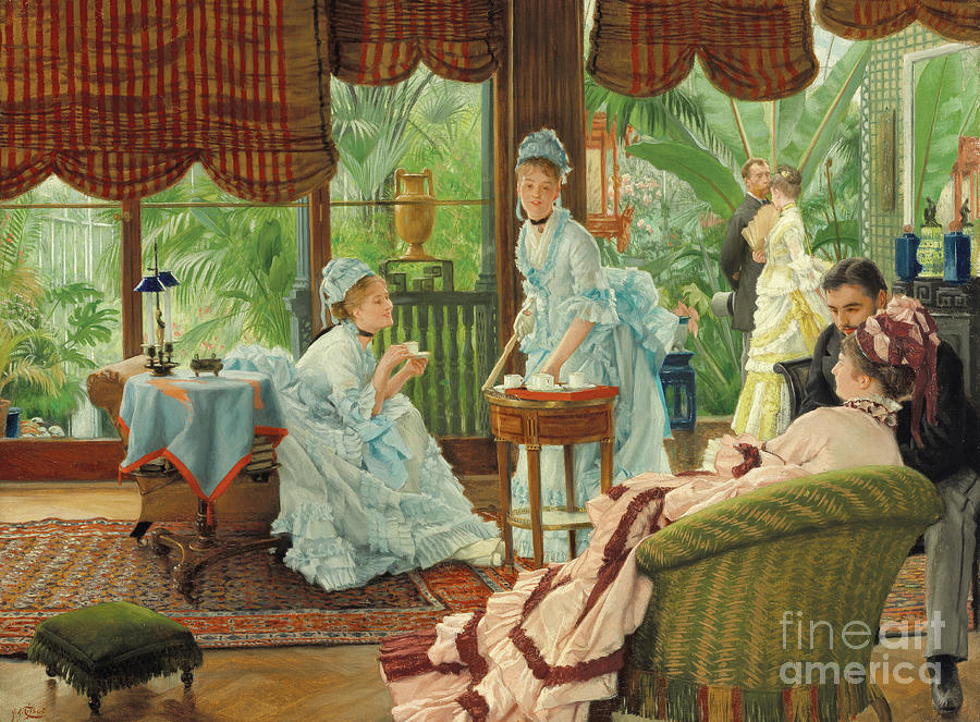 Tissot Painting - In The Conservatory, Rivals by James Jacques Joseph Tissot