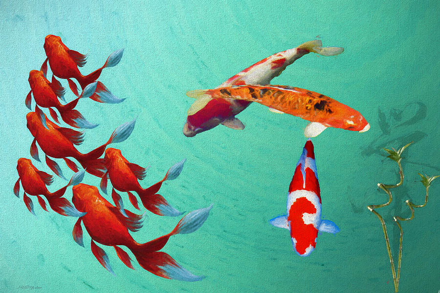In the Koi Pond - Painting by Ericamaxine Price