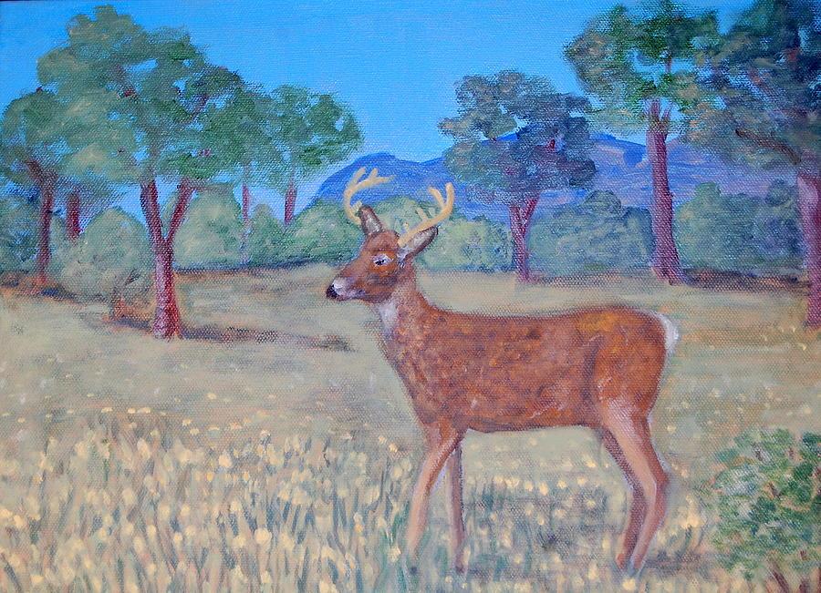 Deer Painting - In The Meadow by Silvia Roberts