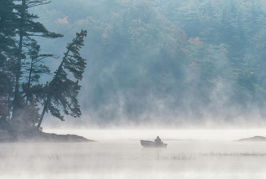 In The Mist, Massabesic Lake N H by Michael Hubley