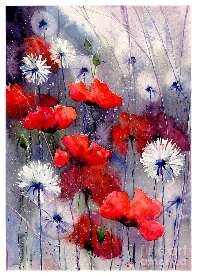 Red Painting - In The Night Garden - Sleeping Poppies by Suzann Sines