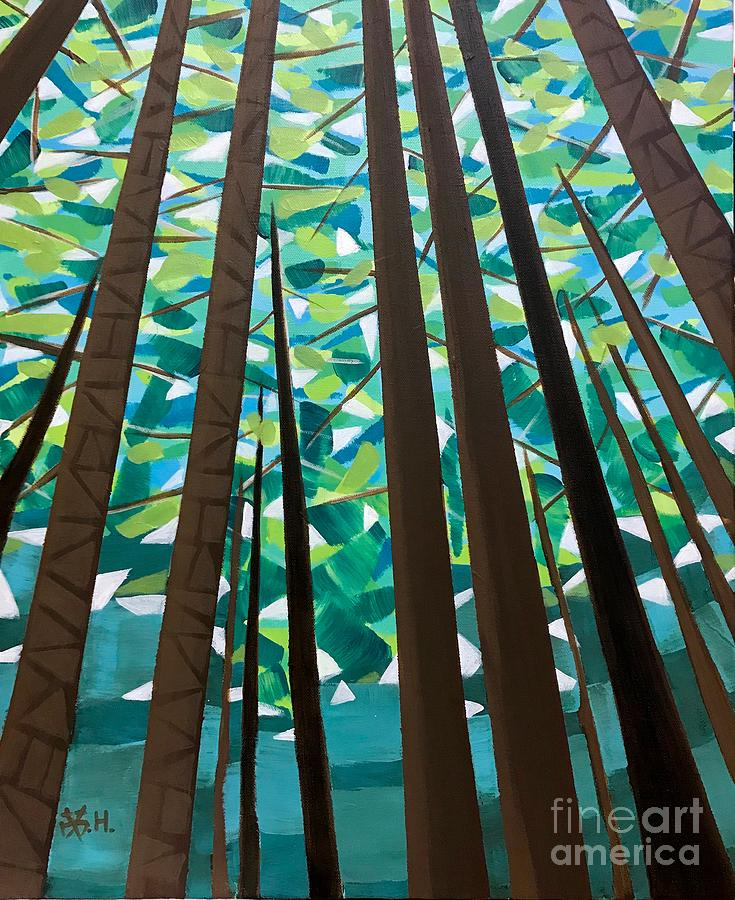 Redwoods Painting - In The Redwoods by Wonju Hulse