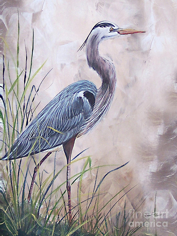Heron Painting - In The Reeds Blue Heron-36x48 by Jean Plout