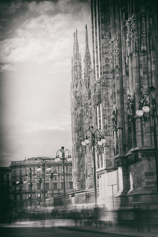 Milan Photograph - In The Shadow Of Milan Duomo Black And White  by Carol Japp
