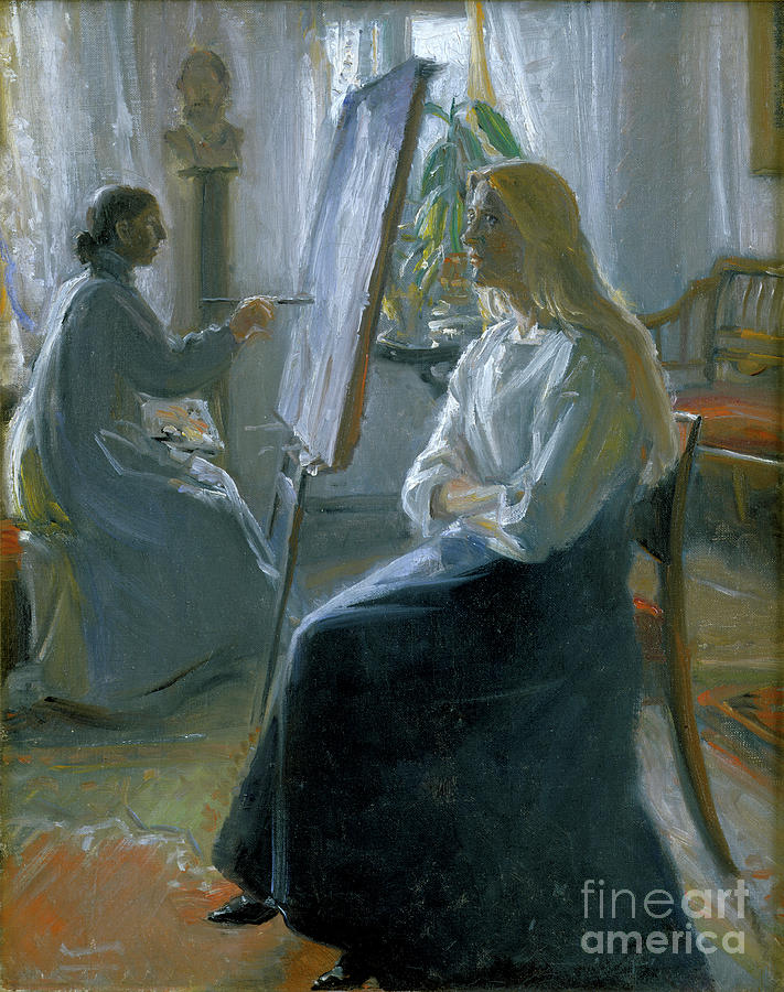 In The Studio, Anna Ancher, The Artists Drawing by Print Collector