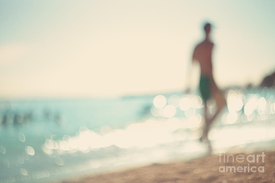 Beauty Photograph - In The Summer Vacation.silhouette Of A by Katerina Planina