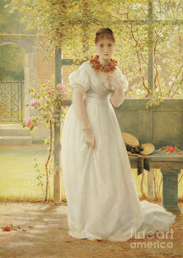 Female Painting - In The Walled Garden, 1869 by George Dunlop Leslie