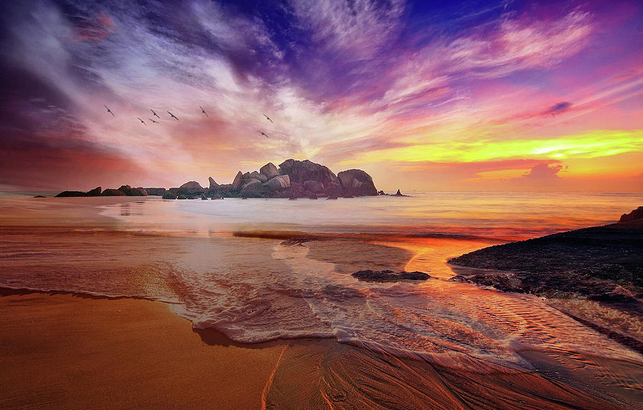 Incoming Tide At Sunset by Clive Littin