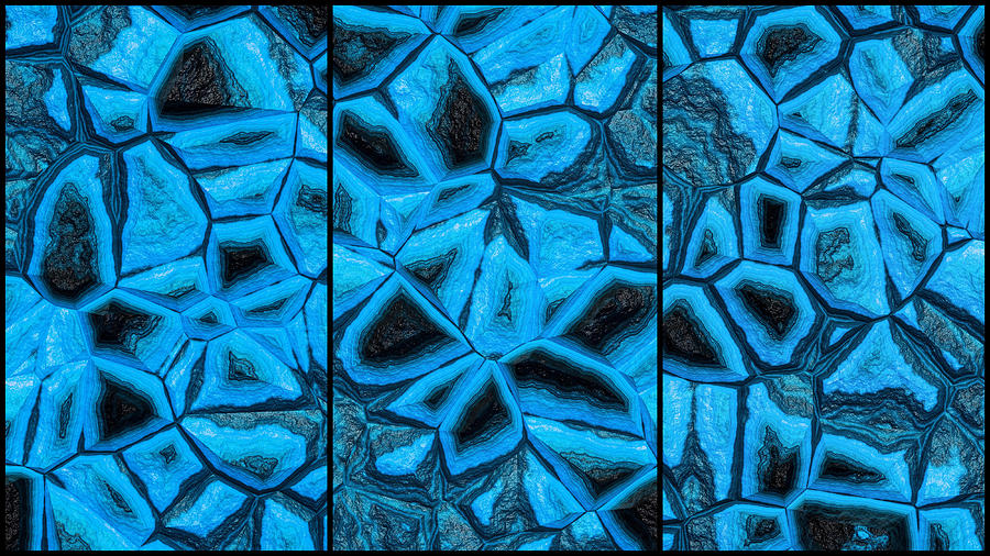 Incredible Blue Abstract Wall Triptych Digital Art