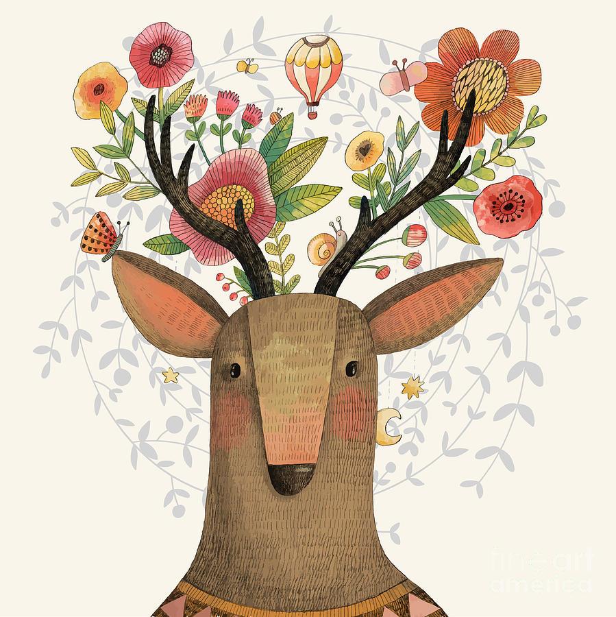 Deer Digital Art - Incredible Deer With Awesome Flowers by Smilewithjul