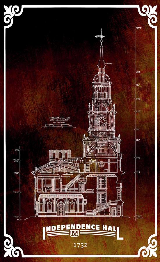 Independence Hall Digital Art - Independence Hall Blueprint Plan by Daniel Hagerman