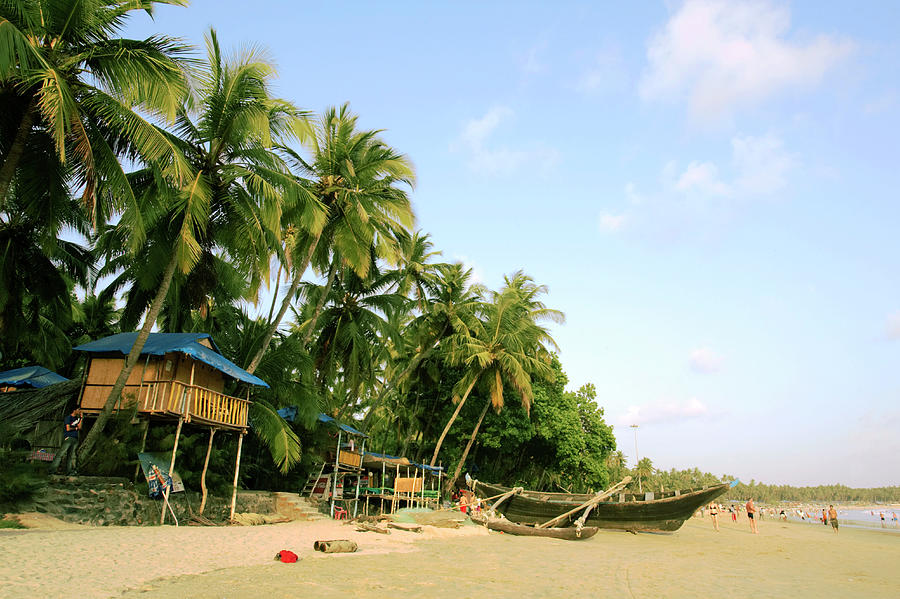 India, Goa, Beach Huts, Boats And Photograph by Sydney James