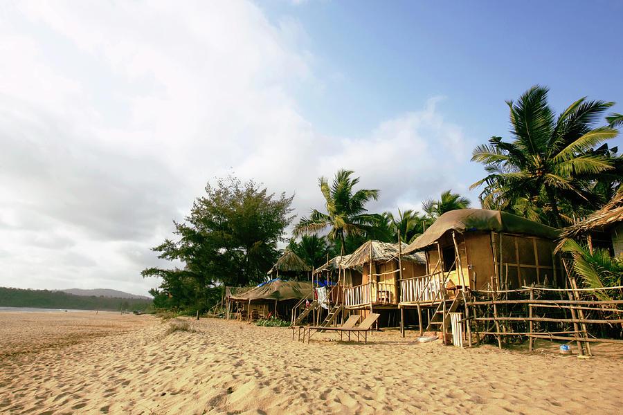 India, Goa, Beach Huts On Agonda Beach Photograph by Sydney James