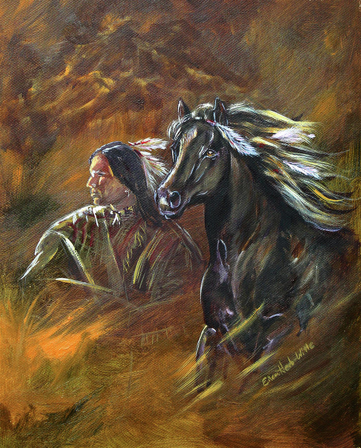 Indian Painting - Indian And Horse by Eileen Herb-witte