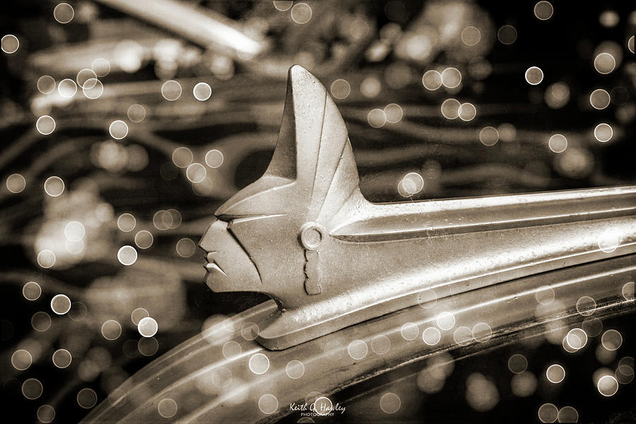 Indian Head Hood Ornament in Sepia by Keith Hawley
