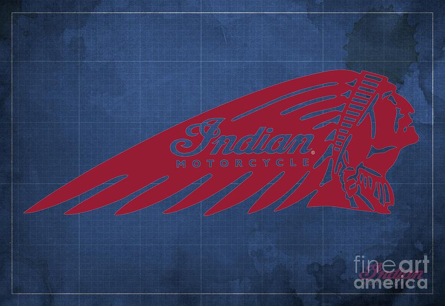 Indian Logo Digital Art - Indian Motorcycle Old Vintage Logo Blue Background by Drawspots Illustrations