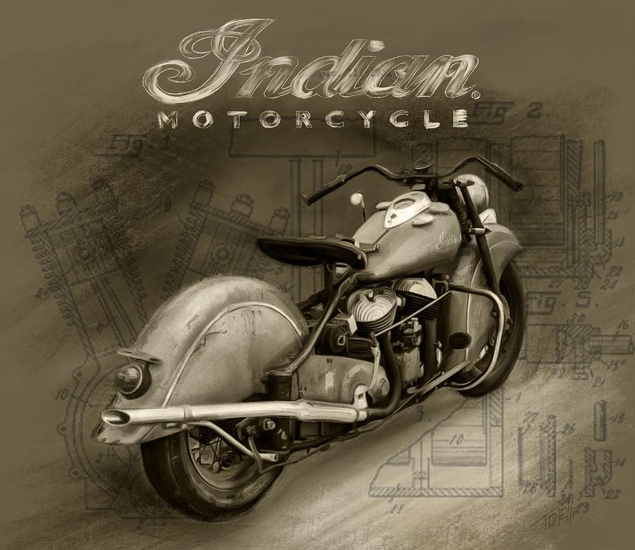 Indian Motorcycle Sepia Vintage Mixed Media