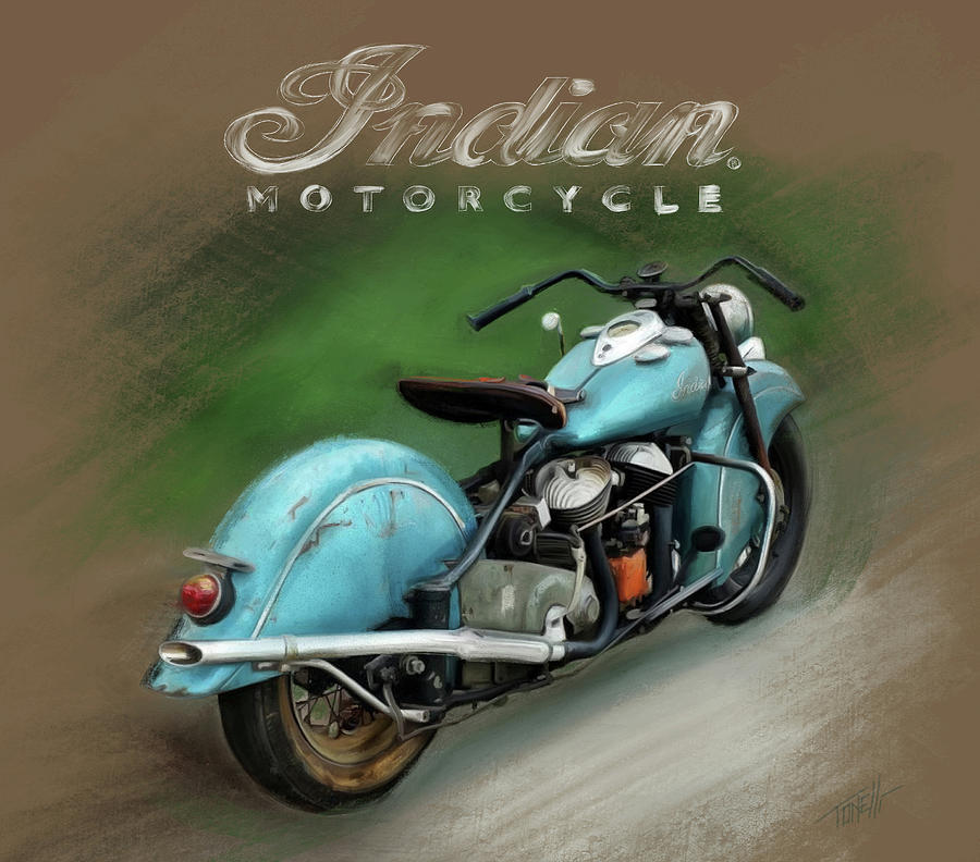 Indian Motorcycle Vintage Mixed Media