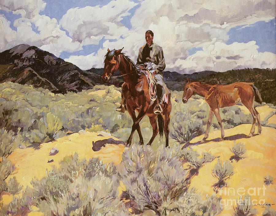 Indian on Horseback with Colt by Walter Ufer