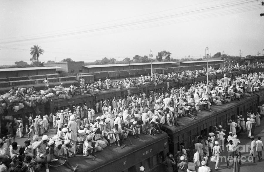 Indian Refugees Piling On Trains Photograph by Bettmann