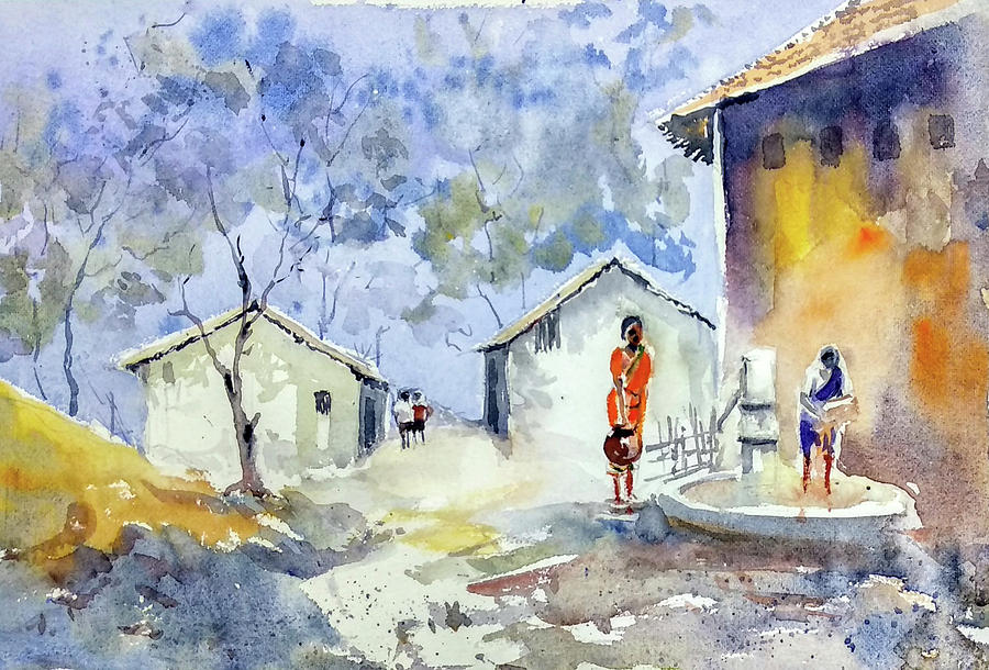 Indian Village by Asha Sudhaker Shenoy