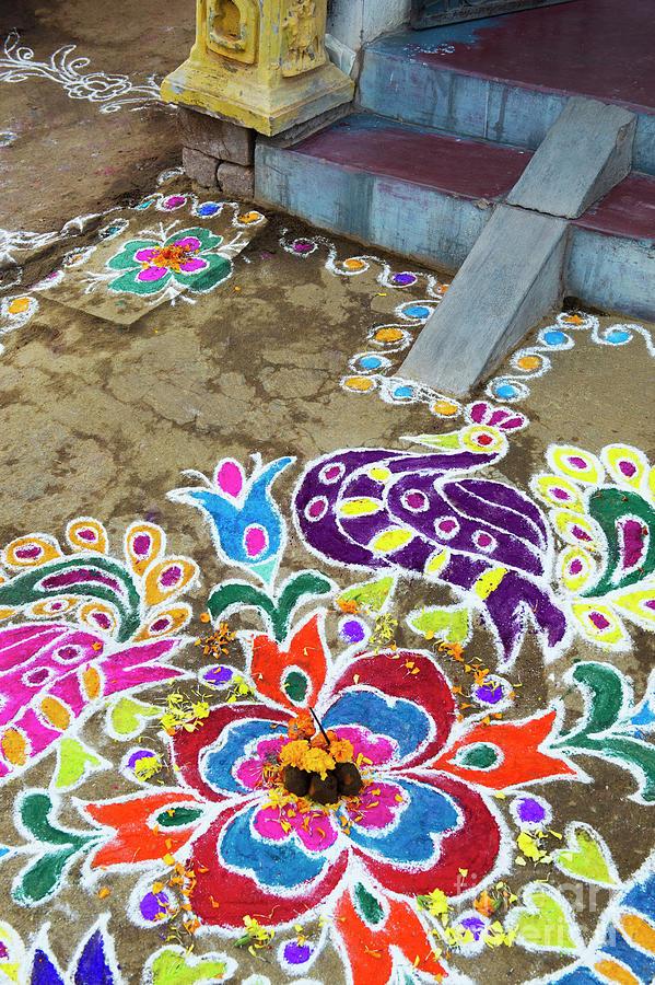 Indian Village Festival Rangoli by Tim Gainey