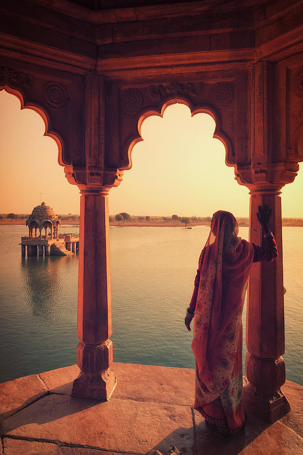 Indian Woman Looking At Landscape Photograph by Michele Falzone