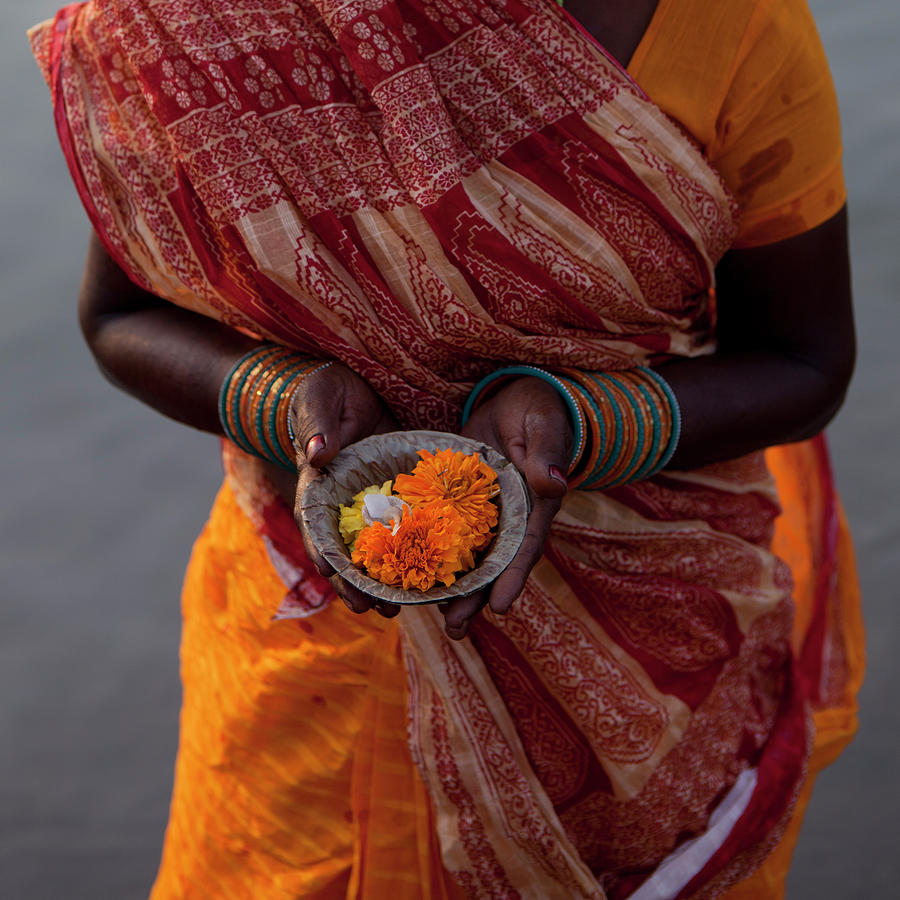 Indian Woman  Offering Puja  For The Photograph by Selimaksan