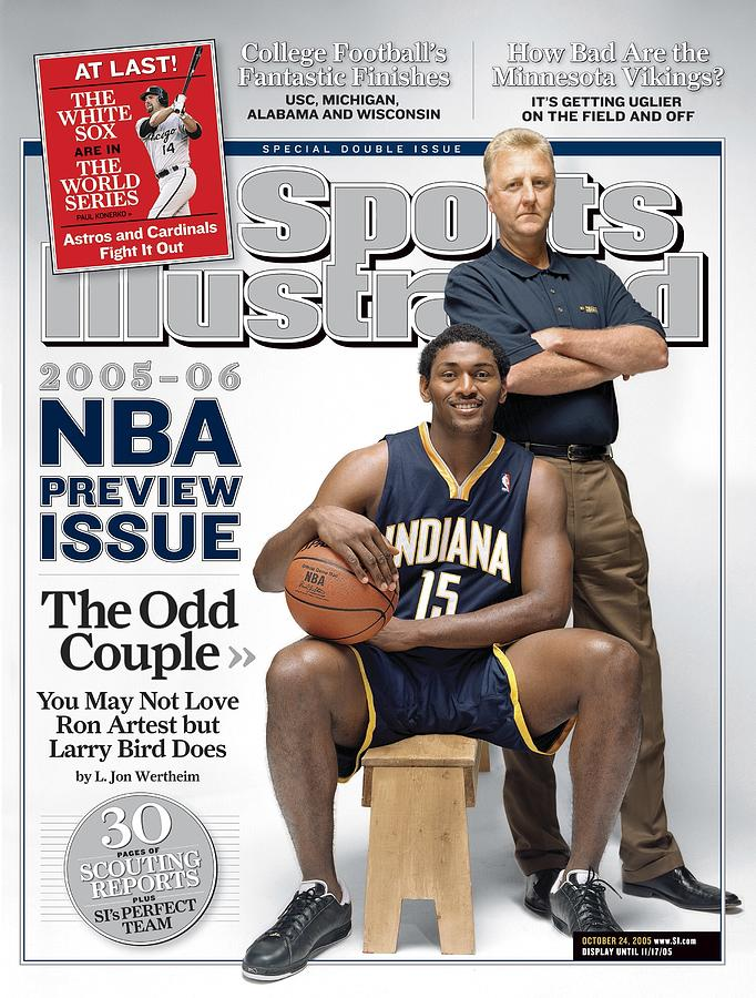 Indiana Pacers Ron Artest And President Of Basketball Sports Illustrated Cover Photograph by Sports Illustrated