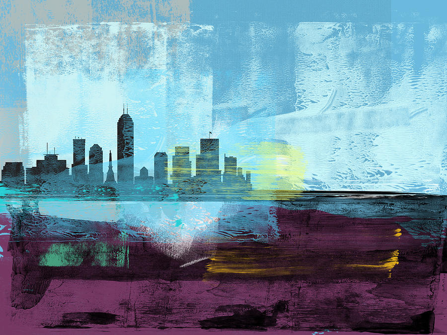 Indianapolis Mixed Media - Indianapolis Abstract Skyline I by Naxart Studio